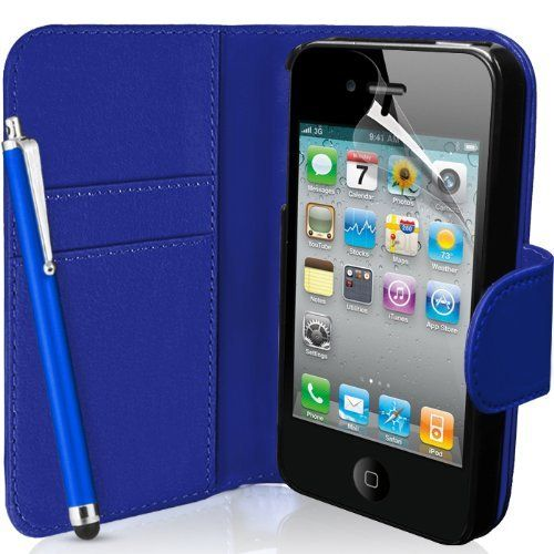 From 1.31 Supergets Apple Iphone 4 / 4s Dark Blue Wallet Case Screen Protector Touch Screen Stylus And Polishing Cloth