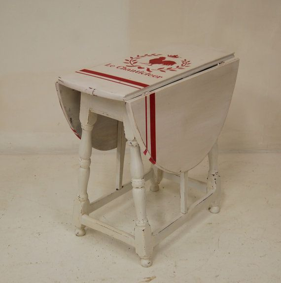 Great Vintage Drop Leaf Chalk Painted Side Table ***On Sale 99.00