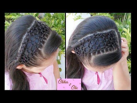 Peinado: Tejido Panal de Abejas!!/Malla (Diadema con cabello) | Chikas Chic - YouTube