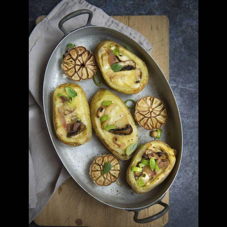 Pommes de terres farcies à la raclette