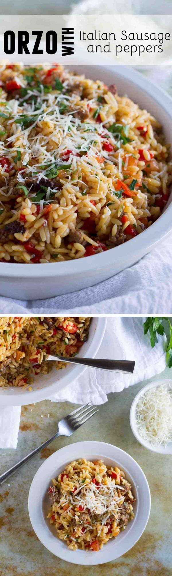 This easy Orzo with Italian Sausage and Peppers is a filling and quick meal - done in under 30 minutes! This is perfect for kids *and* adults!