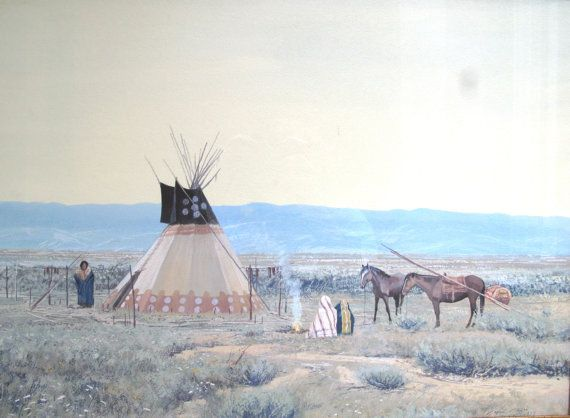 Painted Teepee Native American Art Gouache Painting by John Jarvis