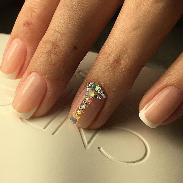 French Nails With Gems