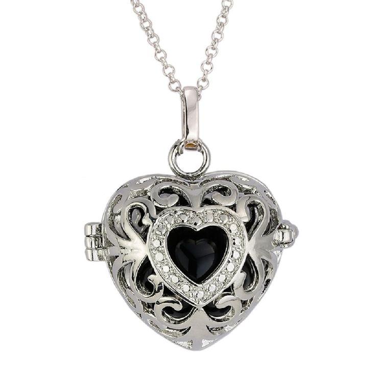 Top Engelsrufer mit Herz Kugel Halskette + Klangkugel Kette Amulett Harmony Ball Anhänger (Schwarz): Amazon.de: Schmuck