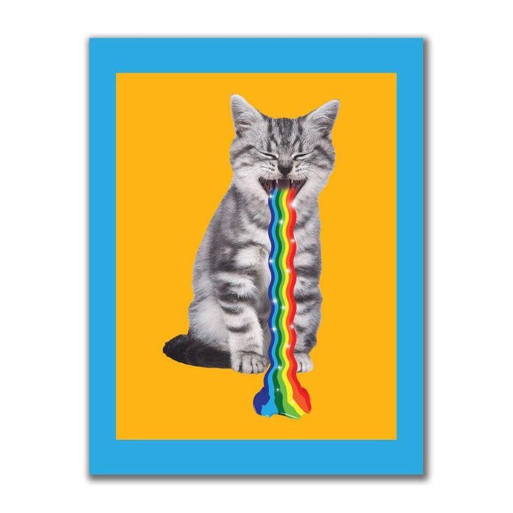 Rainbow Vomit Cat 4x3in. Rectangular Decal Sticker