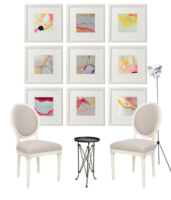 White Frames and Matting + Colorful Abstract Art