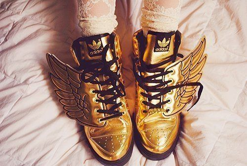 Gold Adidas Sneakers & Let's fly!