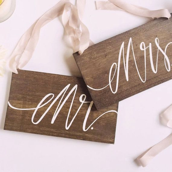 Rustic Wedding Signs Mr and Mrs Chair by MulberryMarketDesign