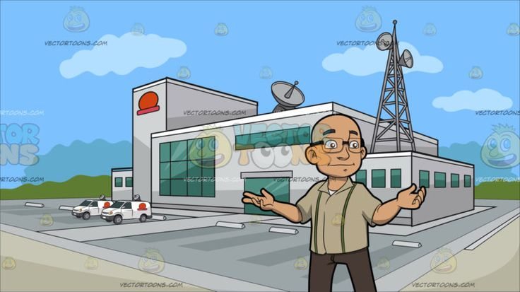 A Bald Man With Glasses At Outside A Tv Station:  A bald man with eyeglasses wearing a light pale brown collared shirt with two green stripes light brown pants and dark brown shoes smirks while extending both arms sideways. Set in a building with light gray exterior walls a huge parking area antennas and satellites green glass windows and a red logo situated on an open area and surrounded by green trees in the background with blue sky.  #men #male #man #clipart #cartoon #vectortoons…