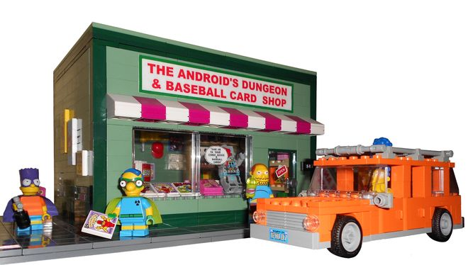 LEGO Ideas - The Simpsons The Android's Dungeon and Baseball Card Shop with Station Wagon of Marge Simpson