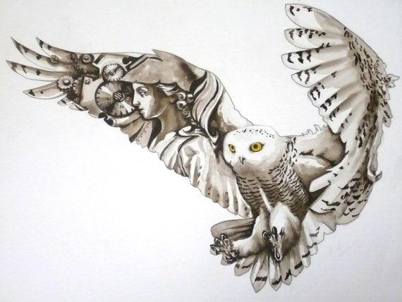 Athena.  Owl.  Clockwork.  Steampunk?  Amazing original watercolour, and only $150!