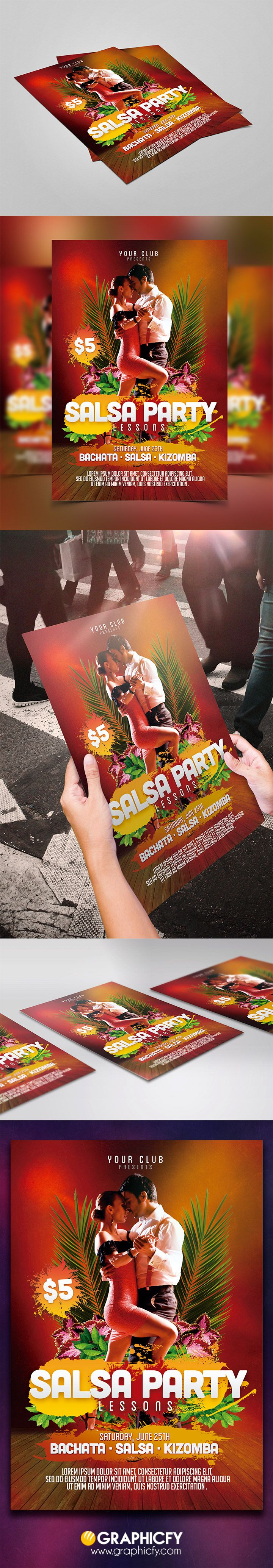 Salsa Flyer Template is a flyer template for your any latin, salsa, bachata…