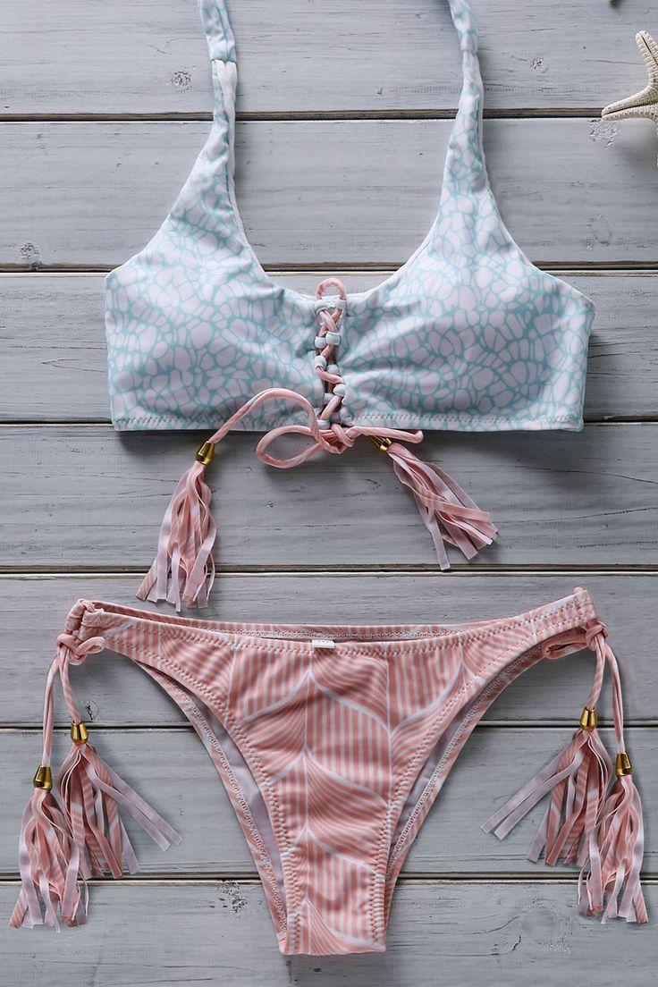 Hit Color Flower Print Halter Bikini Set PINK: Bikinis #ZAFUL