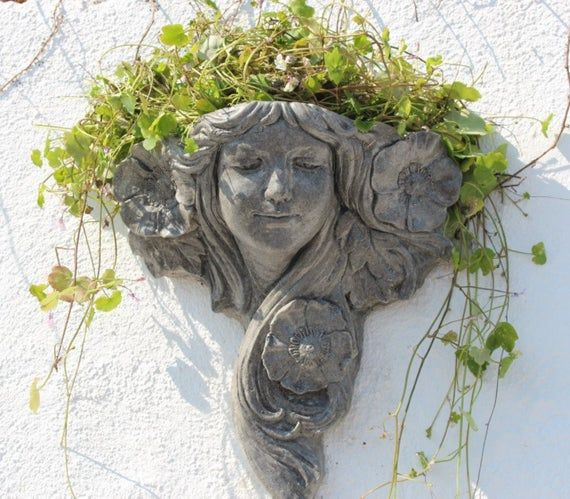 Art Nouveau Stone Wall Planter Flower Lady Wall Decor Made In Cornwall The Cornwall Stoneware Company Flower Pot Garden Inspiration Art Nouveau Flowers Garden Wall Decor Garden Sculptures Stone