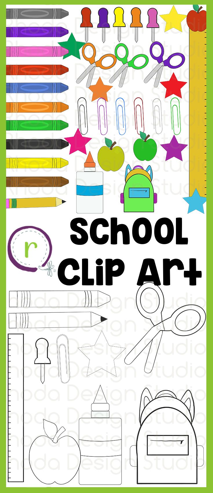 Office and school supply graphics that you can use on back to school resources or every day classroom resources. Includes glue, scissors, paper clips, crayons, pencils, a backpack, apples, stick pins, and a ruler.  48 individual, high resolution (300 dpi) PNG files. 38 colored images and 10 black line images.