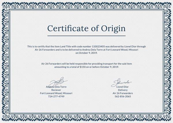 قوالب شهادات تقدير جاهزة وقابلة للتعديل Psd بحث Google Certificate Of Origin Templates Printable Certificates