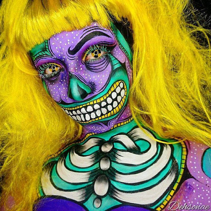 halloween zombie pop art makeup