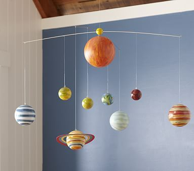 Planet Ceiling Mobile #pbkids-- wonder if I could make this. Descriptions says it's made from hand painted Styrofoam balls.
