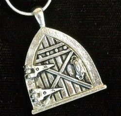 Hobbit silver Fairy Door Necklace on    silver snake chain