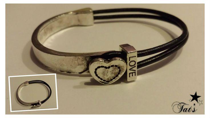 metalen DQ armband (Zilver Antiek) Met hart versiering