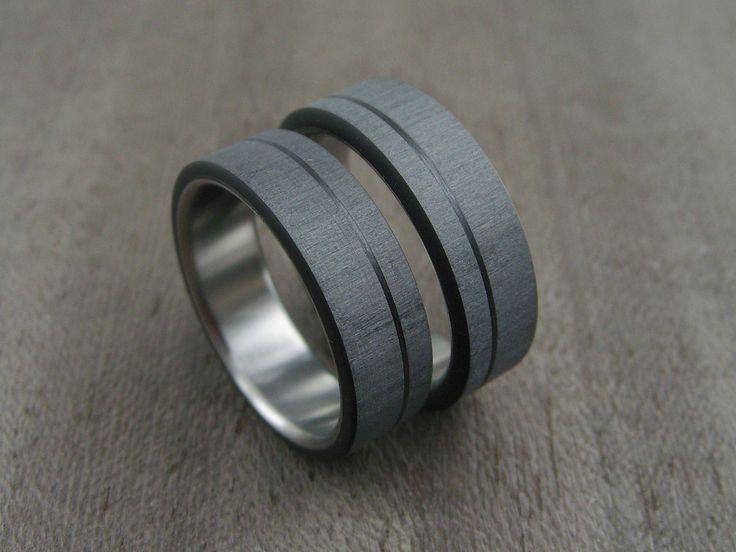 Carbon Fiber and Titanium ring -- Pinstripe Wedding Set
