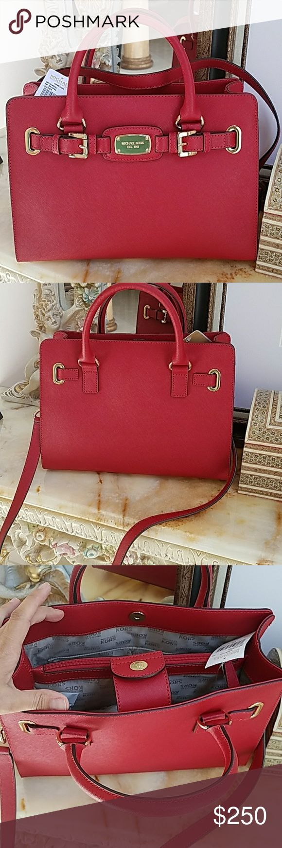 Michael Kors Hamilton Red Leather handbag purse New. 12x9x5 Beautiful color true Red. This is a beautiful Rwd color. It doesn't have any orange or pink in it. True beautiful Red it comes with a michael kors shopping bag Great Christmas Gift MICHAEL Michael Kors Bags