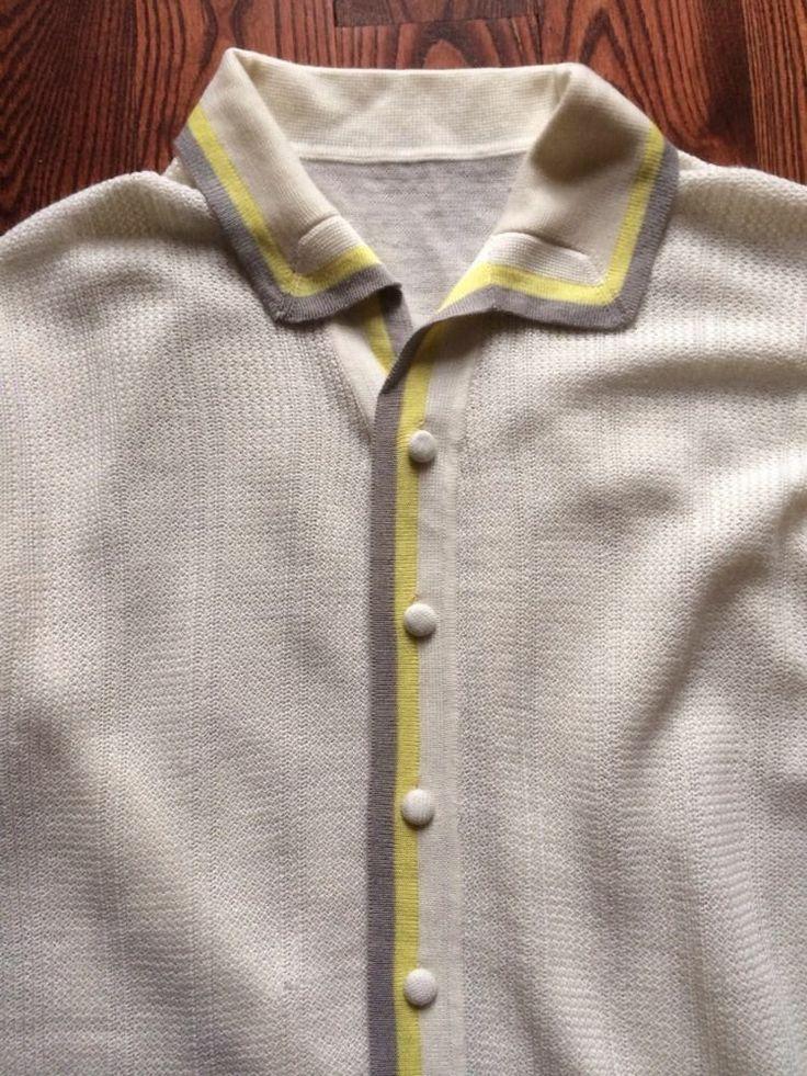 Italian Knit Polo Shirt Vtg 60s Cream Gray Yellow Size M