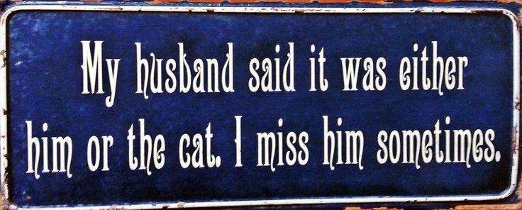 "Metalskilt med teksten: ""My husband said it was either him or the cat. I miss him sometimes."" #metalskilt #skilt #citat #quote #catquote #ilovemycat #kat #katte #plantorama"