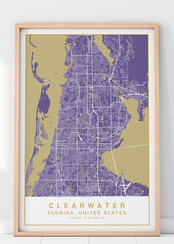 Map Of Clearwater Florida.Clearwater Map Print In Purple Harmony Clearwater Poster