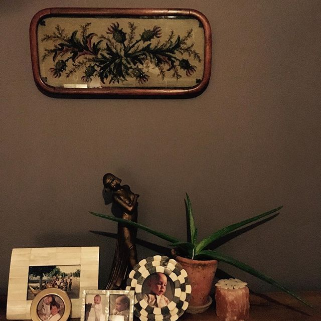 A snippet of my bedroom. I love moody colours. This one I mixed from many pots and created this wonderful dusky aubergine colour... tricky when you need to touch up though  Also,  check out this wonderful Scottish framed embroidery with beading. It was love at first sight and sourced from @no5interiors #interiorstyling #waltoninteriors #waltoninteriorsandstyling #painting #decor #decoration #plants #householdplants #antique