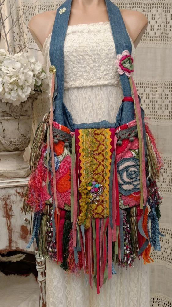 Handmade Denim Vintage Fabric Fringe Bag Gypsy Festival Hippie Boho Purse tmyers #Handmade #ShoulderBag