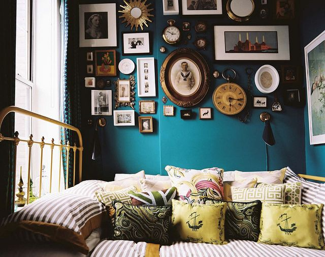 I want to jump right in this bed!  Blue + yellow bedroom: 'Surf Blue' by Benjamin Moore by xJavierx, via Flickr