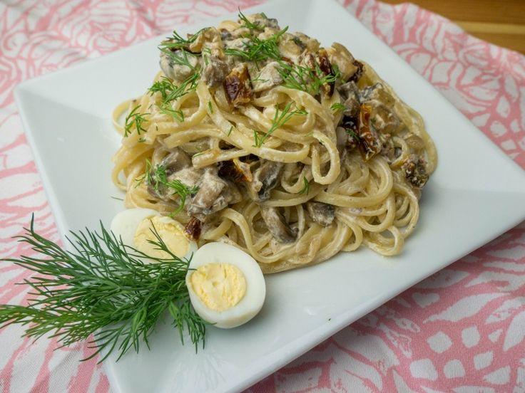 Спагетти с грибами и сушеными помидорами