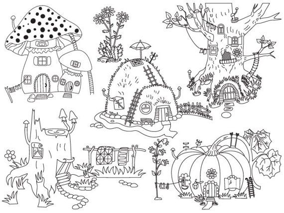 Pin By Jessica Ewell On Coloring Pages In 2021 Tree House Drawing House Doodle Art