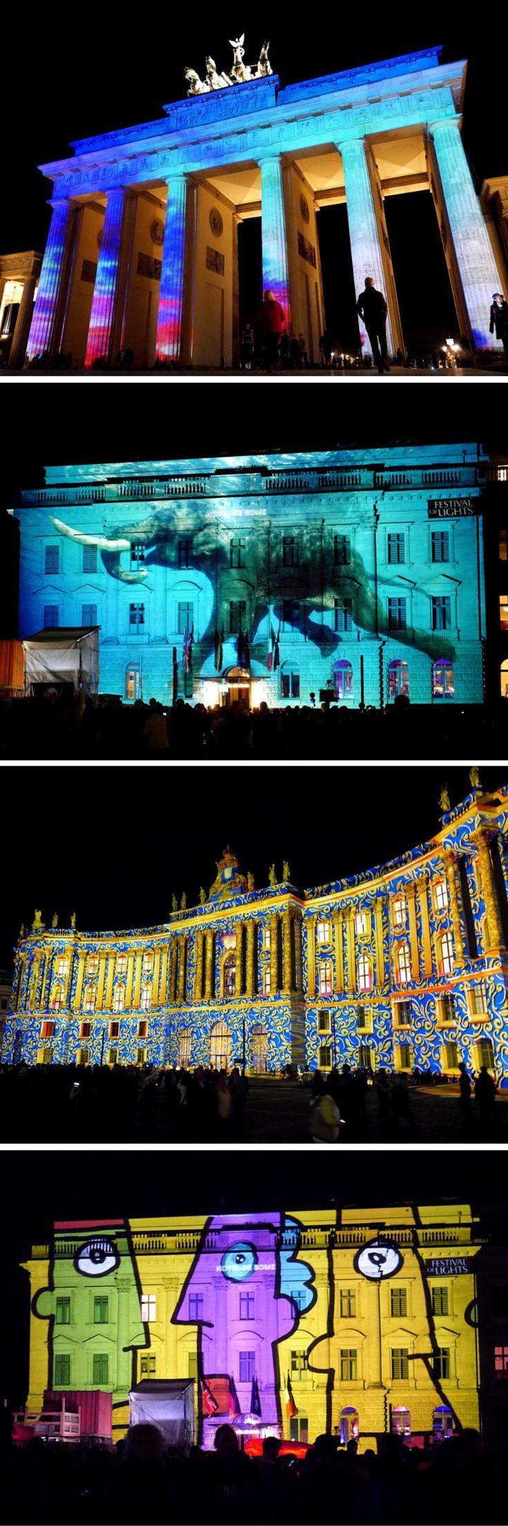 Landmarks illuminated by the Berlin Festival of Lights, Germany