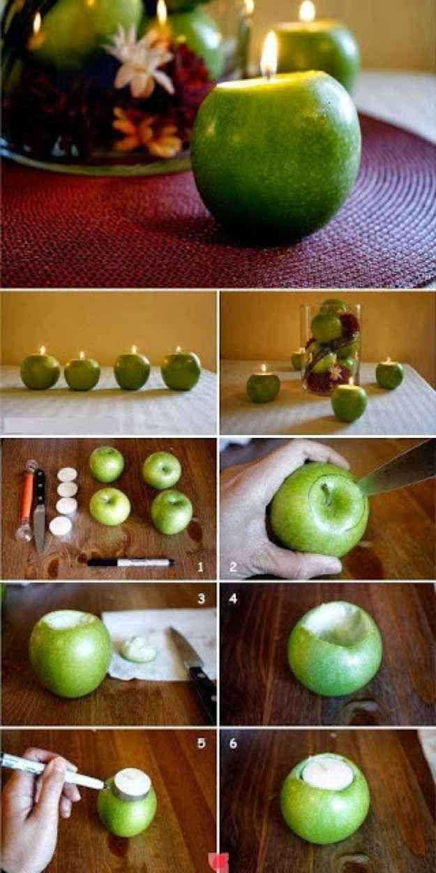 Make apple candles. | 30 Cute And Clever Ways To Decorate For Thanksgiving