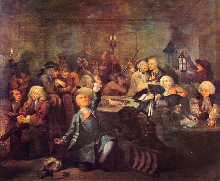 La carriera del Libertino (6) - La Bisca, William Hogarth; 1733-35; olio su tela; Soane's Museum, Londra