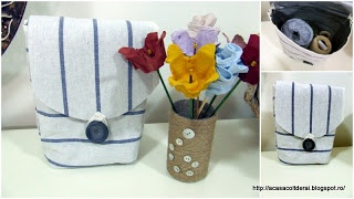 by Acasa Colt de Rai- TUTORIAL- Duct tape storage bag made of fabric kitchen towel, staples and duct tape. Coastal finish.