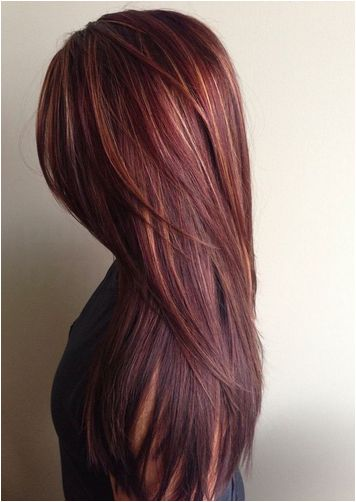 red highlights on brown hair - Google Search                              …