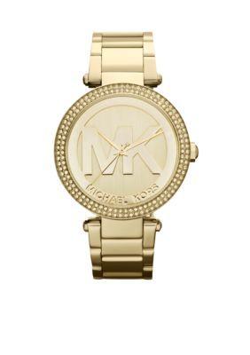 Michael Kors Gold Womens Midsize Gold-Tone Stainless Steel Parker Logo Glitz Watch
