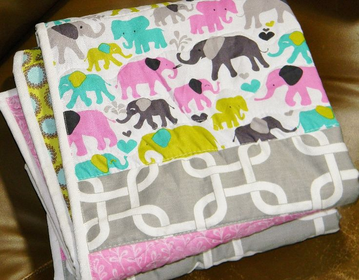 Homemade quilts for sale - Elephant quilt - Baby girl quilt - Baby gift - Baby crib quilt by createdbymammy on Etsy