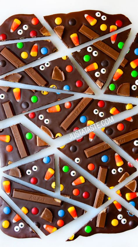 Halloween Candy Bark recipe featuring all your favorite candies!