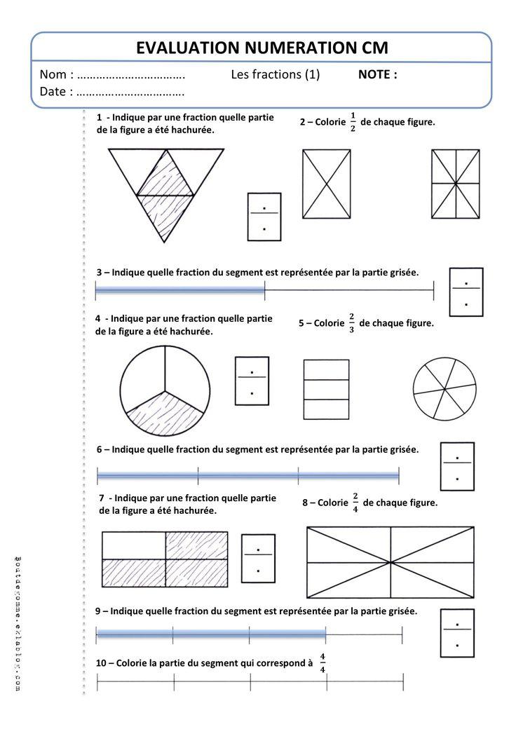 Evaluation cm2 num ration les fractions 1 bout de - Fraction cm1 a imprimer ...