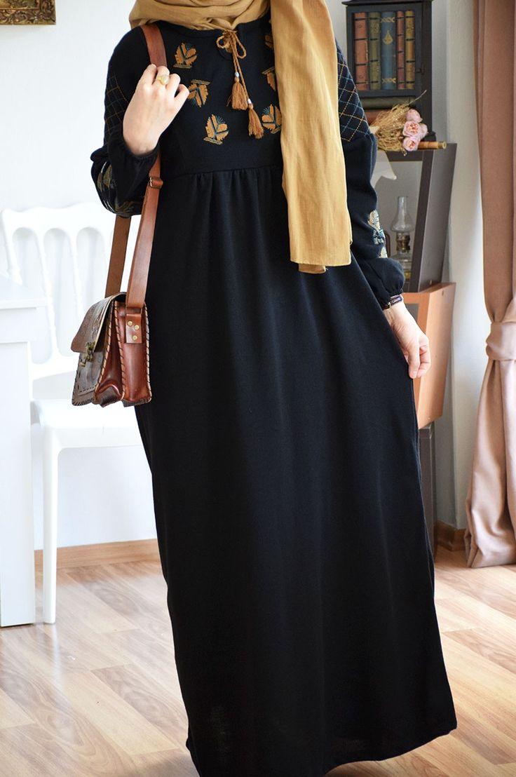 Otantik Nakışlı Triko Elbise - Eminos Butik | Modo & Tasarım