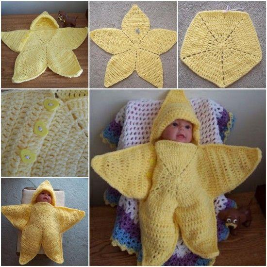 Crochet Star Hooded Baby Blanket Free Pattern
