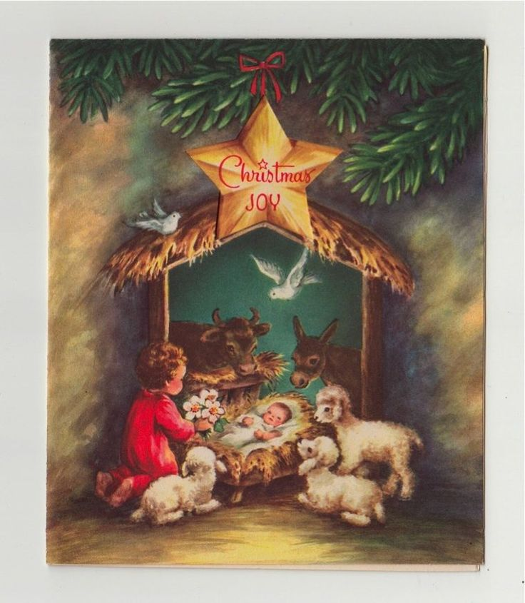 Vintage Greeting Card Christmas Religious Nativity Animals Manger Baby Jesus 312