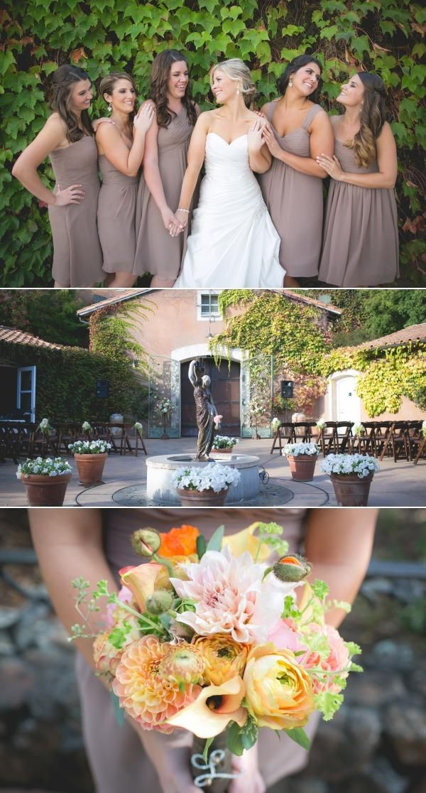 Mocha bridesmaid dresses, gorgeous flowers, and a stunning strapless wedding dress by Maggie Sottero. See more on Style Me Pretty!