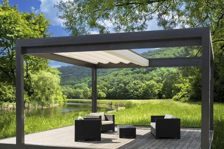 Best modern pergola backyard designs 2014 exterior modern aluminum dark grey painted pergola for Pergola aluminium design