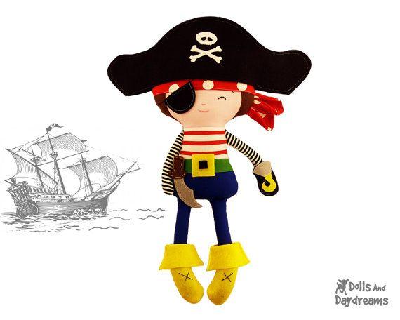 Pirata costura PDF patrón Digital instantánea descargar felpa niño juguete de DIY - sombrero y parche en el ojo se adapta a su hijo