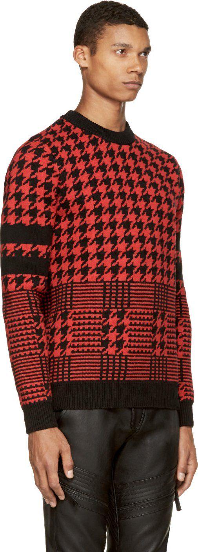 Diesel Black Gold Black & Red Houndstooth Jacquard Kustode Sweater